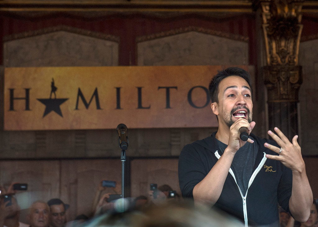 ". Lin-Manuel Miranda, ""Hamilton\"" creator, greets fans in front of the Hollywood Pantages Theatre in Hollywood during \""Hamilton\"" ticket lottery and a performance with surprise guests and cast members on Wednesday, Aug 16, 2017. (Photo by Ed Crisostomo, Los Angeles Daily News/SCNG)"
