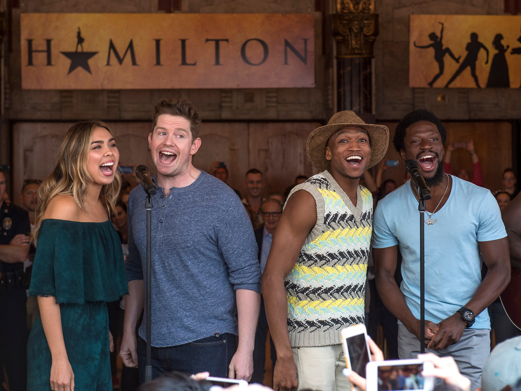". Surprise guests and cast members perform for fans in front of the Hollywood Pantages Theatre in Hollywood during ""Hamilton\"" ticket lottery on Wednesday, Aug 16, 2017. (Photo by Ed Crisostomo, Los Angeles Daily News/SCNG)"