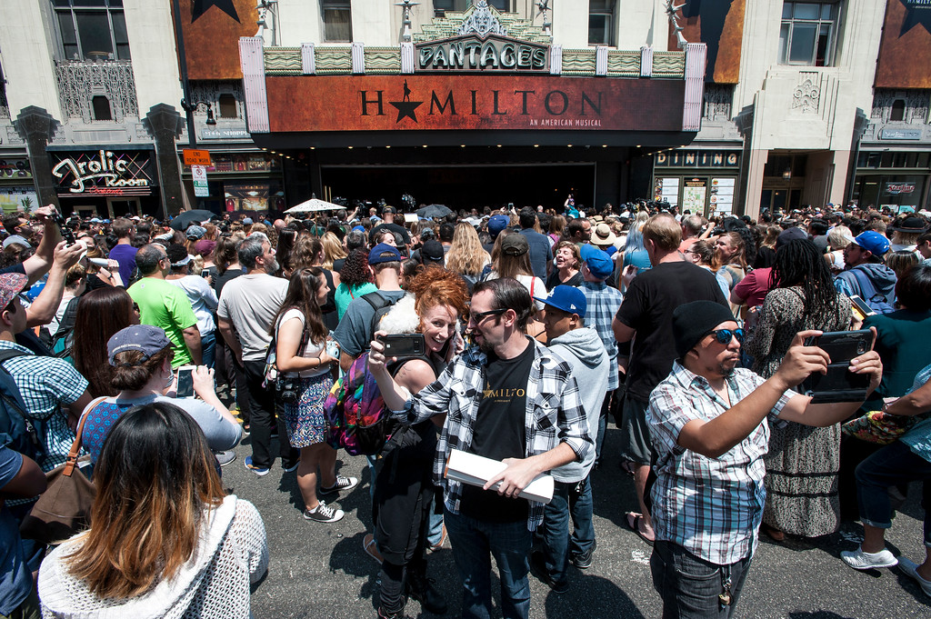 ". Fans gather in front of the Hollywood Pantages Theatre in Hollywood during ""Hamilton\"" ticket lottery and a performance with surprise guests and cast members on Wednesday, Aug 16, 2017. (Photo by Ed Crisostomo, Los Angeles Daily News/SCNG)"