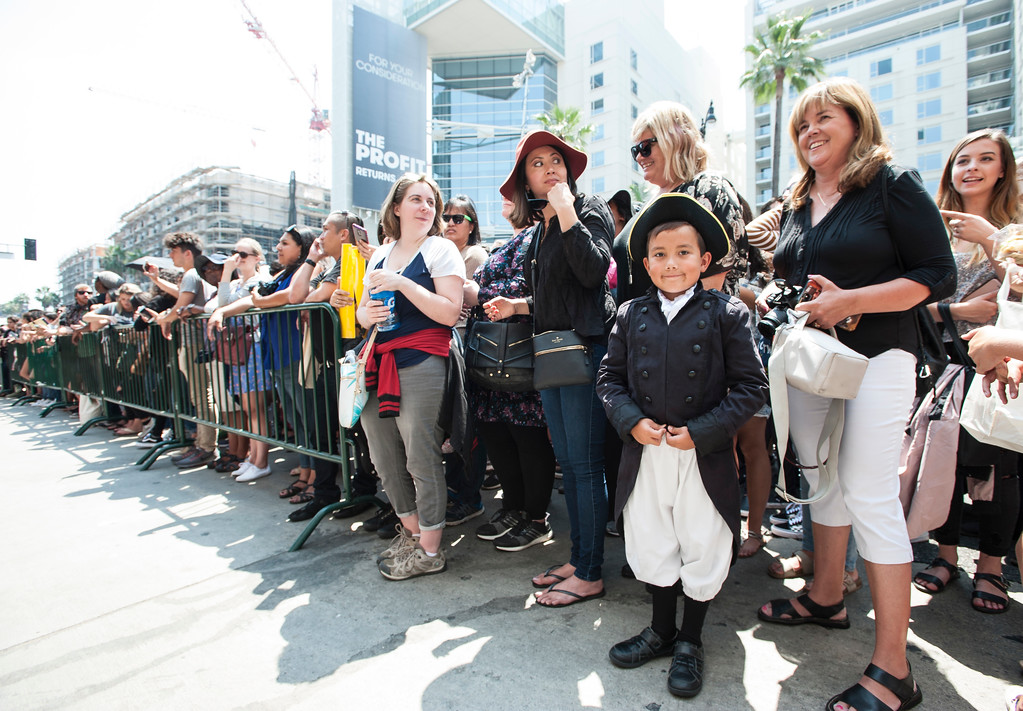". Benjamin Gardea, 7, of Arcadia, and his mother Aili, right, gather with other fans in front of the Hollywood Pantages Theatre in Hollywood during ""Hamilton\"" ticket lottery and a performance with surprise guests and cast members on Wednesday, Aug 16, 2017. (Photo by Ed Crisostomo, Los Angeles Daily News/SCNG)"