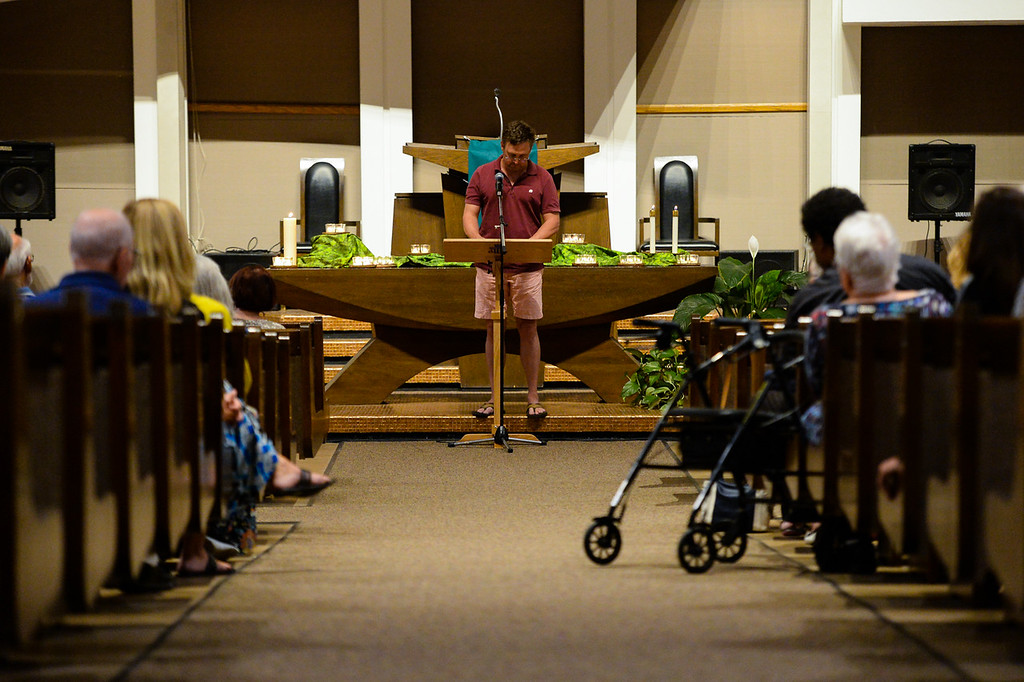. Community members express prayers, frustration, outrage and sympathy for those affected by the Charlottesville violence during a vigil at the First Presbyterian Church in Redlands, Calif. on Thursday, Aug. 17, 2017. (Photo by Rachel Luna, The Sun/SCNG)