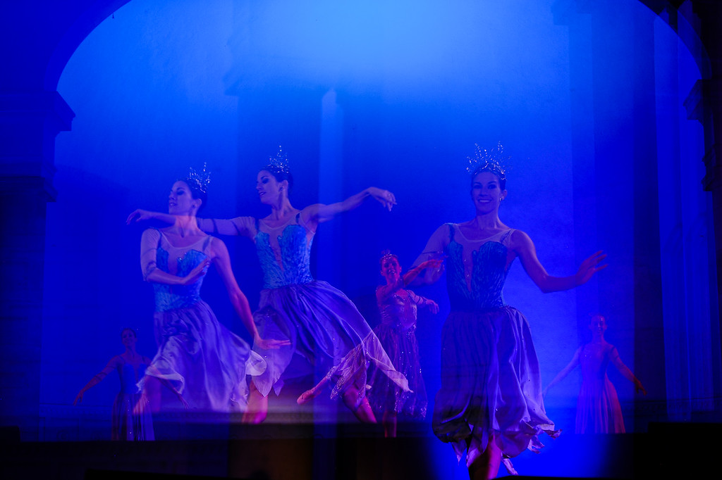 . An in-camera multiple exposure is taken of professional company State Street Ballet of Santa Barbara performing the classic Cinderella story on stage at the Redlands Bowl in Redlands, Calif. on Friday, Aug. 17, 2017. The performance part of the Redlands Bowl\'s Summer Music Festival. (Photo by Rachel Luna, Redlands Daily Facts/SCNG)