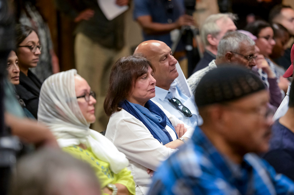. The audience listens to Rev. Jesse Jackson at the Islamic Center of Southern California Sunday, August 20, 2017.  Jackson spoke out on the events in Charlottesville and Injustice everywhere.  ( Photo by David Crane, Los Angeles Daily News/SCNG)