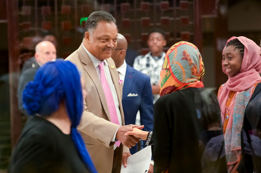 . The Rev. Jesse Jackson is greeted at the Islamic Center of Southern California where he appeared as a special guest to speak on Charlottesville and injustice everywhere.   ( Photo by David Crane, Los Angeles Daily News/SCNG)