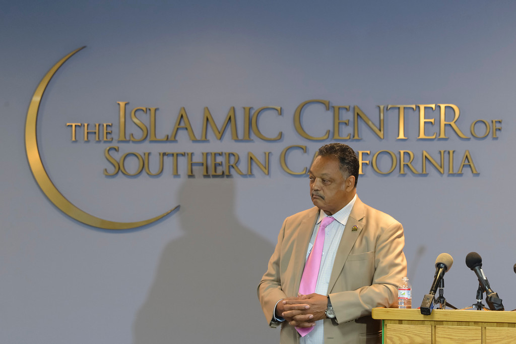 . The Rev. Jesse Jackson speaks out on Charlottesville and injustice at the Islamic Center of Southern California Sunday, August 20, 2017.   ( Photo by David Crane, Los Angeles Daily News/SCNG)