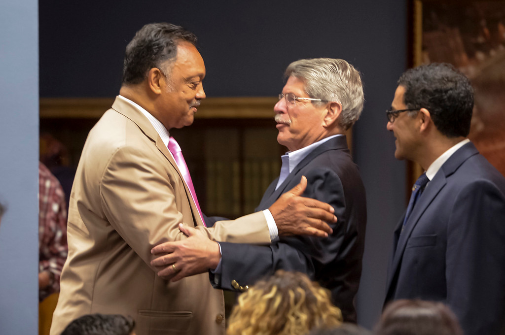 . Rev. Jesse Jackson is greeted by former Los Angeles County Supervisor Zev Yaroslavsky at the Islamic Center of Southern California Sunday, August 20, 2017.  The pair were on hand to speak on the events in Charlottesville and Injustice everywhere.  ( Photo by David Crane, Los Angeles Daily News/SCNG)