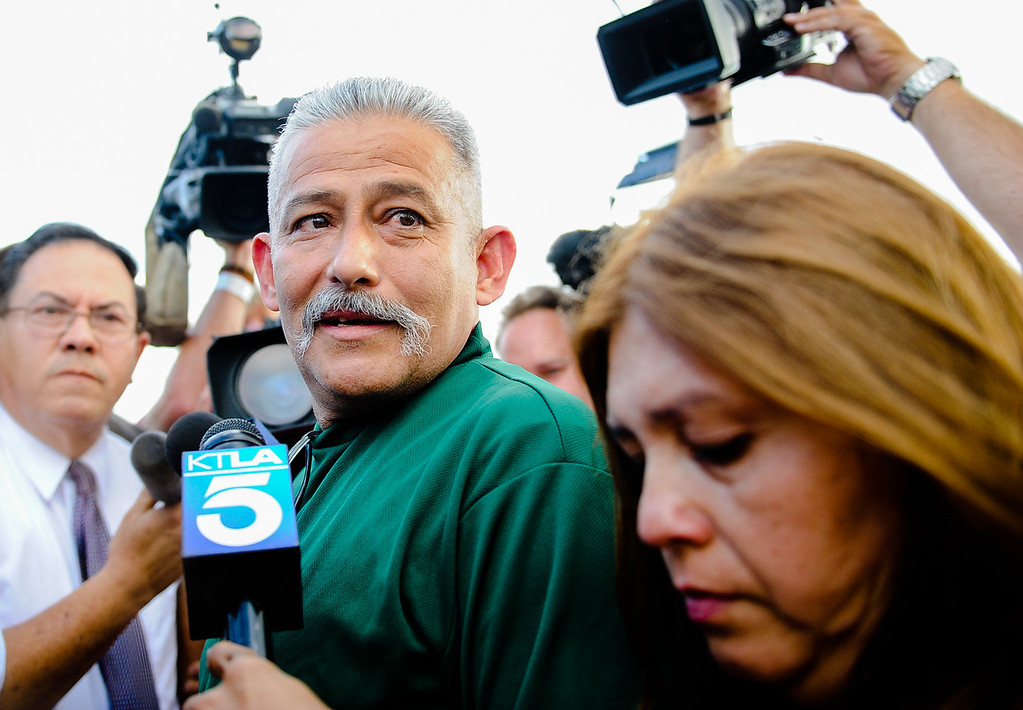 . Romulo Avelica-Gonzalez, a 49-year-old father of four who arrested by immigration authorities on Feb. 28 shortly after dropping off one of his daughters at school, is released from the GEO Desert View Immigration Detention Center in Adelanto, Calif. on Wednesday, Aug. 30, 2017. The decision to allow the Lincoln Heights resident to post bond does not mean the end to his possible deportation, but it will allow him to return to his family while his case proceeds. (Photo by Rachel Luna, Los Angeles Daily News/SCNG)