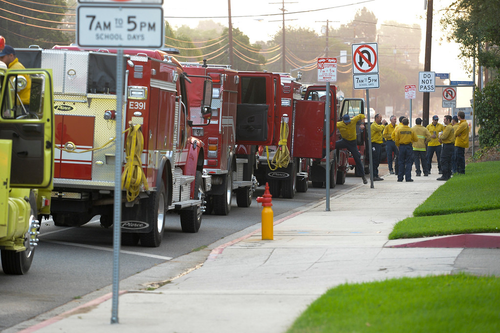 . Firefighters prepare for another day of battling the La Tuna Fire Sunday morning.  The fire has now blackened more than 5,800 acres.  Los Angeles mayor Eric Garcetti has declared a local emergency for the fire which has destroyed 3 homes.   ( Photo by David Crane, Los Angeles Daily News/SCNG)