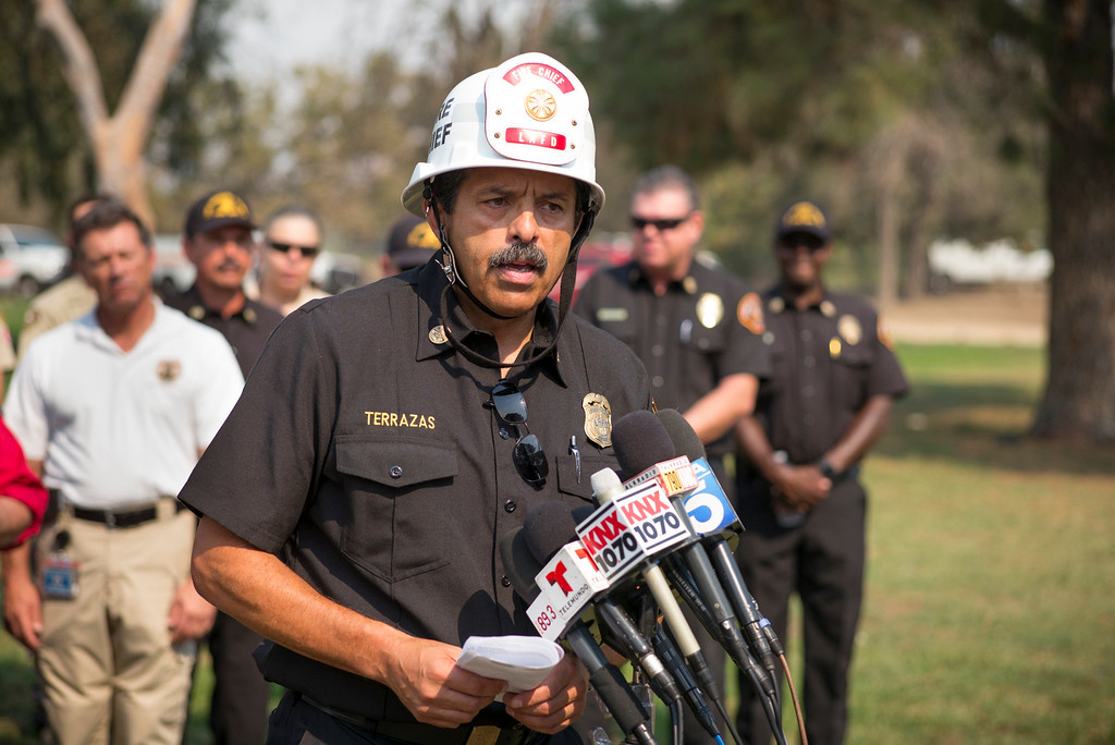 . Los Angeles Fire Chief Ralph Terrazas gives an update on the La Tuna Sunday morning.  The fire has destroyed 3 homes and blackened more than 5,800 acres.   ( Photo by David Crane, Los Angeles Daily News/SCNG)