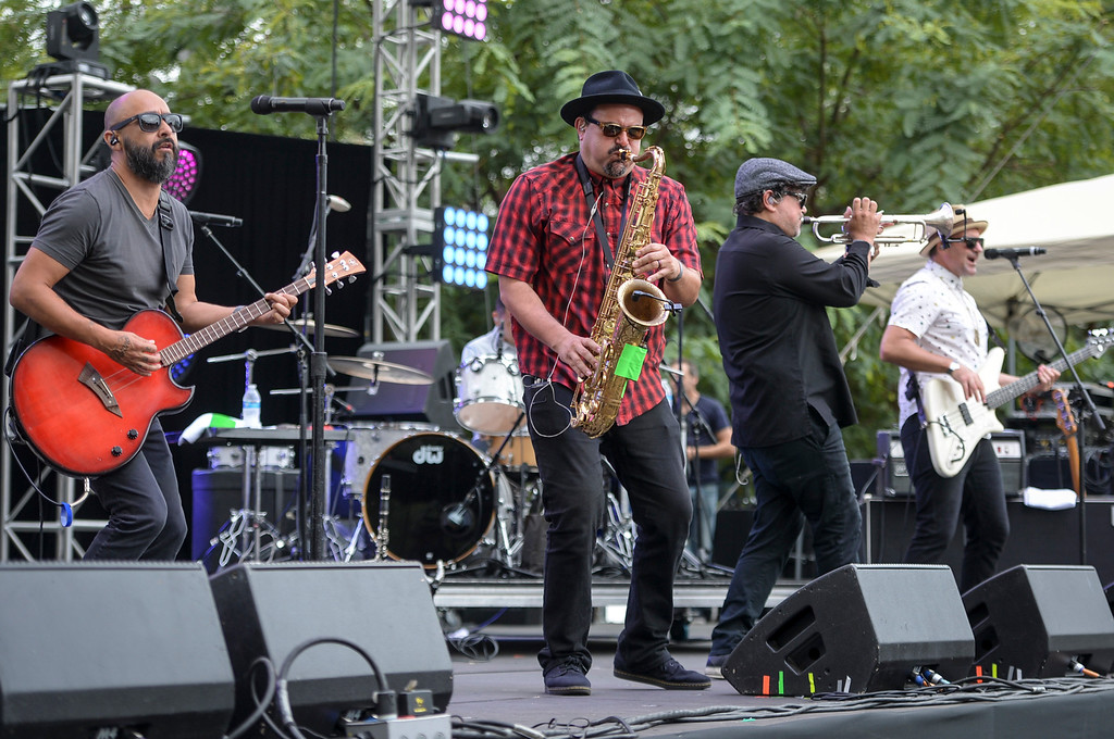 . Ozomatli performs at the Labor Day music fest at Grand Park Monday in downtown LA. ( Photo by David Crane, Los Angeles Daily News/SCNG)