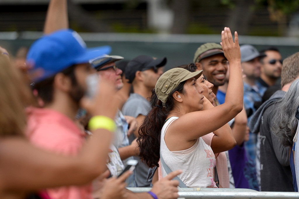 . Crowds dance to the music of Ozomatli at the Labor Day music fest at Grand Park Monday in downtown LA. ( Photo by David Crane, Los Angeles Daily News/SCNG)