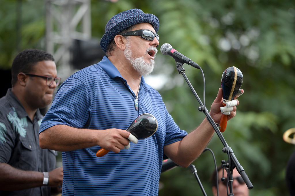 . Poncho Shanchez performs at the Labor Day music fest at Grand Park Monday in downtown LA. ( Photo by David Crane, Los Angeles Daily News/SCNG)