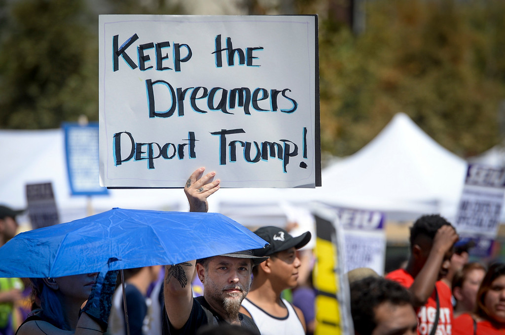 . DACA, Deferred Action for Childhood Arrivals, supporters attended the Labor Day rally and march in downtown Los Angeles Monday.   The Deferred Action for Childhood Arrivals program started by President Obama is under threat of being shut down by President Trump.  ( Photo by David Crane, Los Angeles Daily News/SCNG)