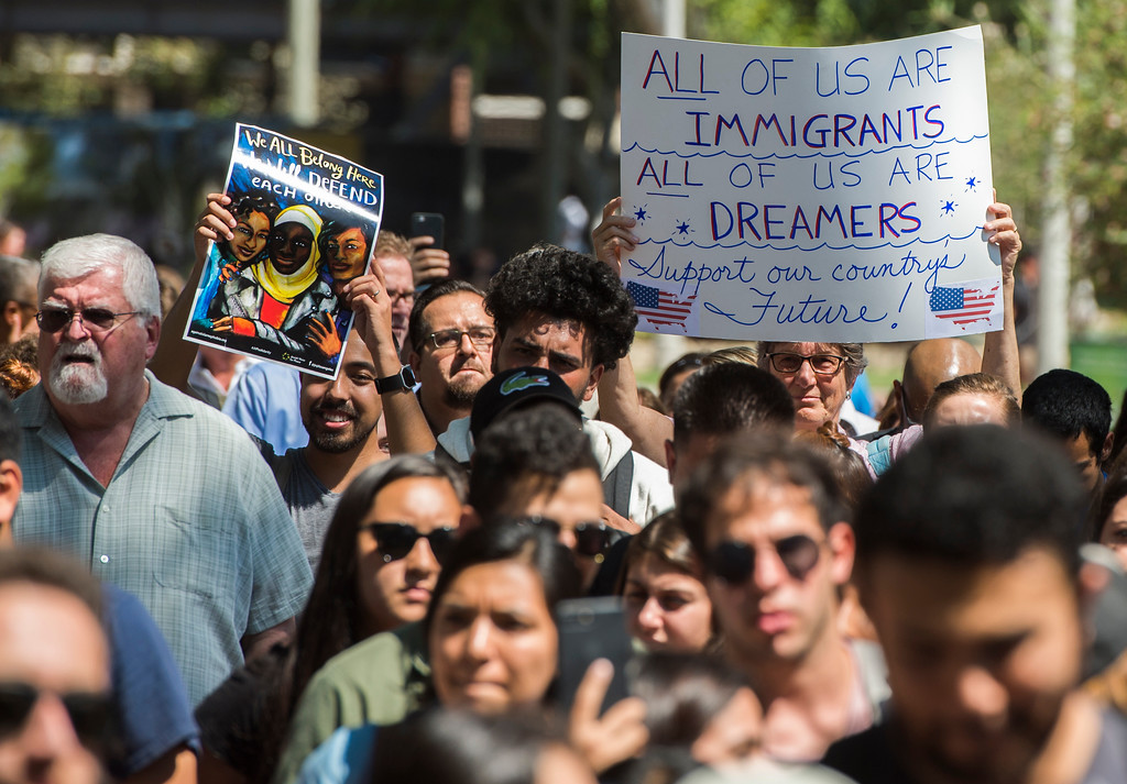 . Cal State University Long Beach DACA students and immigrant right groups gather at the university to march against the Trump administration as they announce the end of the immigration protection program in Long Beach Tuesday, September 5, 2017 (Photo by Thomas R. Cordova, Press-Telegram/SCNG)