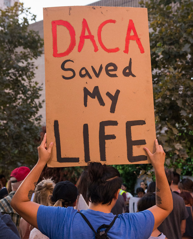 . Local community leaders and immigrant rights groups gather at Harvey Milk Park to support and demonstrate at a rally in support of the Deferred Action for Childhood Arrivals (DACA) in Long Beach Wednesday, September 6, 2017. President Donald Trump has rescinded the program, ending amnesty for 800,000 young immigrants brought to the US illegally as minors. (Photo by Thomas R. Cordova, Press-Telegram/SCNG)