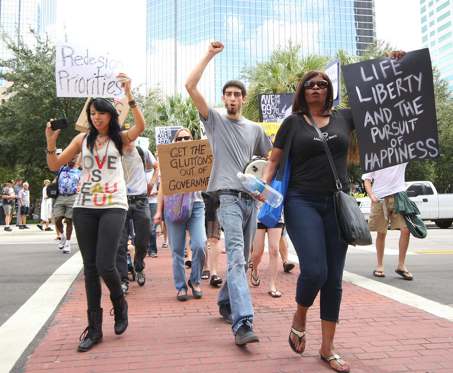 10/6/2011 TAMPA, FL -  Protesters march during an Occupy Tampa protest. Approximately 500 protesters came out to show support in Tampa, FL [MANDATORY PHOTO CREDIT: LUKE JOHNSON]