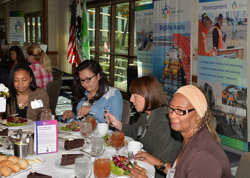 . Experienced women and young students gather at the 2013 Celebrating Women in Trade luncheon in Long Beach on November 14. This is the third event to recognize the important role women play in the field of goods movement and to inspire young women in high school to envision a career in the industry.(Photo by Brittany Murray/ Press Telegram)