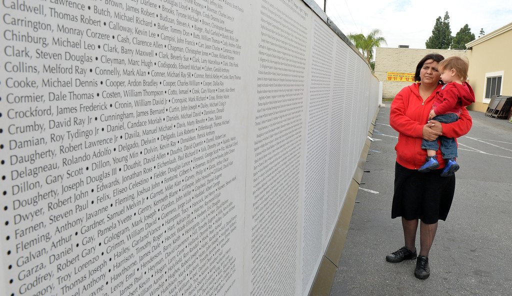 . Martha Ornelas and Nathan, 1 year, visit the Team AMVETS Thrift Store Long Beach which is currently hosting the Wall of Remembrance to honor our Veterans. The Wall of Remembrance was inspired by the three factors, a wish by active duty military for a memorial, the cowardly acts of terrorists on 9/11/2001 and Vietnam Veterans.   For more information visit vision2victory.org or wallofremembrance.org  This marks the second time the wall has been displayed in Long Beach, December 18, 2013.(Photo by Brittany Murray / Press Telegram)