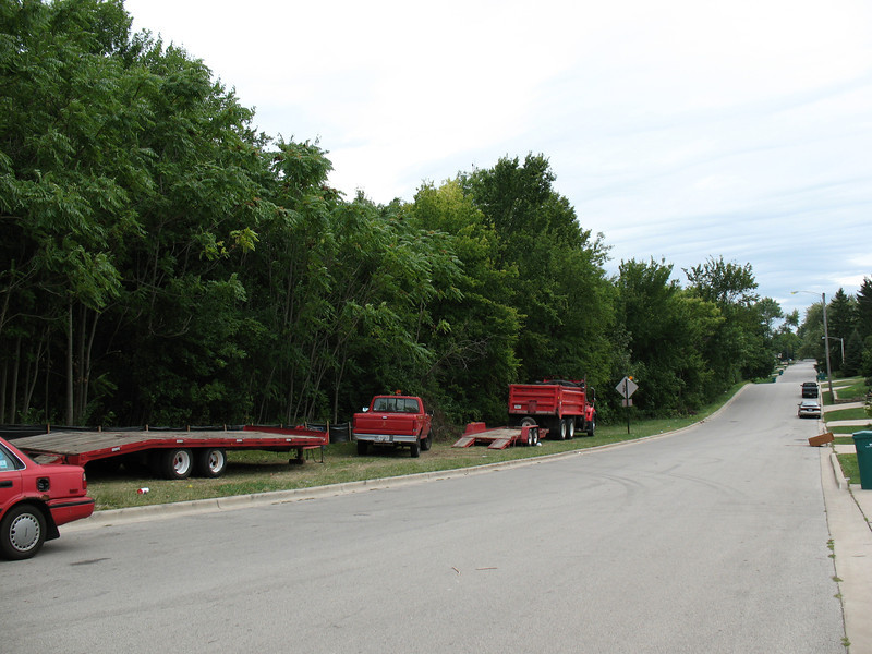 The view south along Center Street, where preserve visitors can park their cars.
