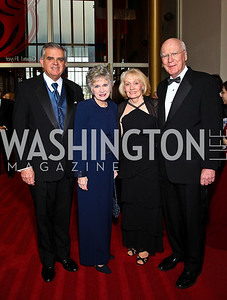 Transportation Secretary Ray LaHood and Kathy LaHood, Marcelle Leahy and Senator Patrick Leahy. Kennedy Center Spring Gala. Photo by Tony Powell. April 3, 2011