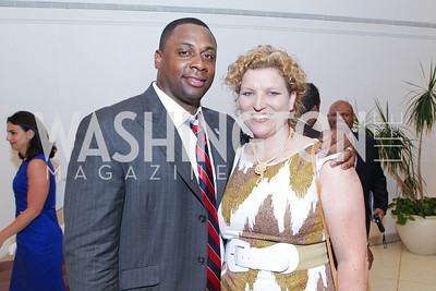 Troy Vincent, Valerie Vollmers. Photo by Alfredo Flores. 2011 Sport For Social Change Awards. The Embassy of France
