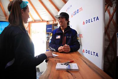 Sho Kashima signing autographs in the Delta Yurt 2013 Sprint U.S. Freestyle Championships at Heavenly Resort, California Photo: Sarah Brunson/U.S. Ski Team