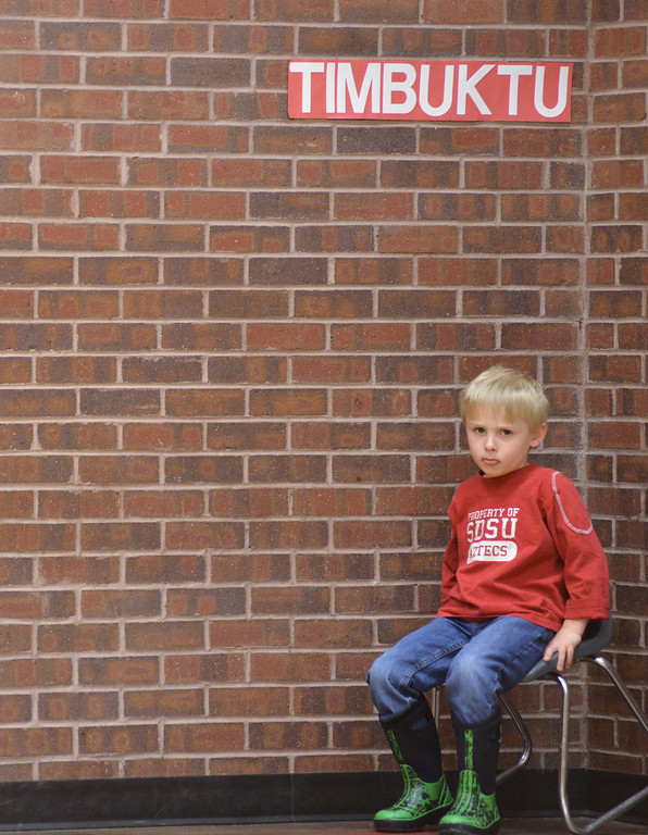 "Skyler Moreland takes a timeout in the ""Timbuktu"" corner after misbehaving during Physical Education Class Tuesday afternoon at Tongue River Elementary School in Ranchester."