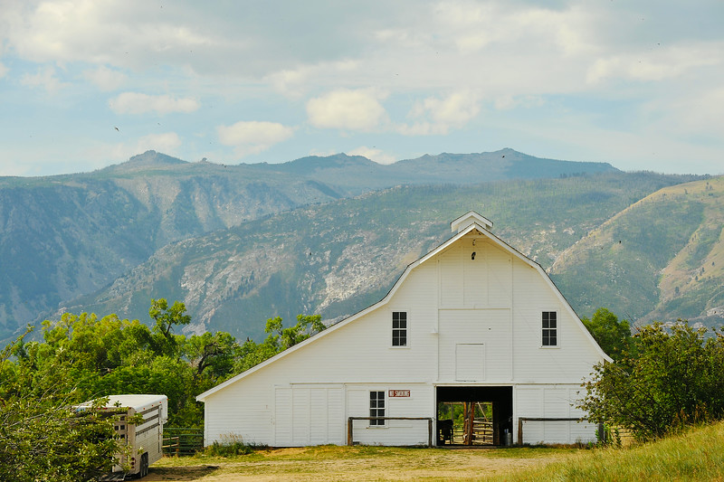 The historic Brinton Barn at the Quarter Circle A Ranch is seen in front of the Little Goose Canyon Wednesday morning. The Sheridan Press|Justin Sheely.