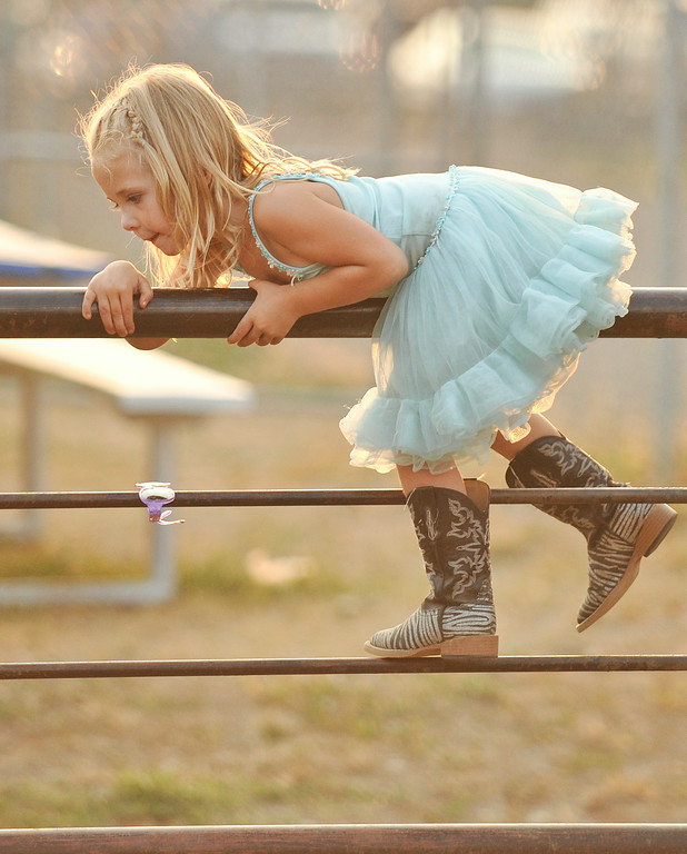 Three-year-old Charly Martinez climbs over a fence in her dress during the Sheridan County Rodeo Friday night at the Sheridan County Fairgrounds. The Sheridan Press|Justin Sheely.