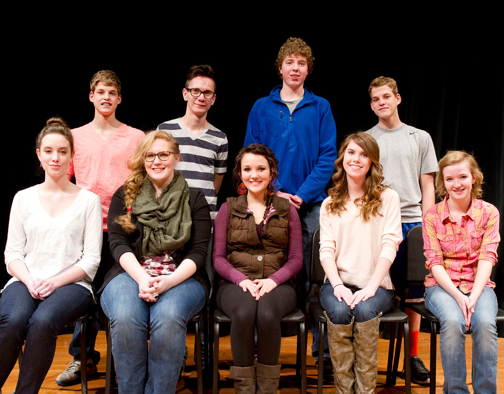 The Sheridan High School 2014 All-State Choir, top row, from left, Kodi MacDonnell, James Malles, Ben Lecholat, and Kori MacDonnell. Bottom row, from left, Sarah Campbell, Micah Cornell, Natalie Magera, Frannie Weitzel, and Brynn Bateman. Not pictured is Carson Howell. (Jan. 8, 2014. The Sheridan Press/Justin Sheely)