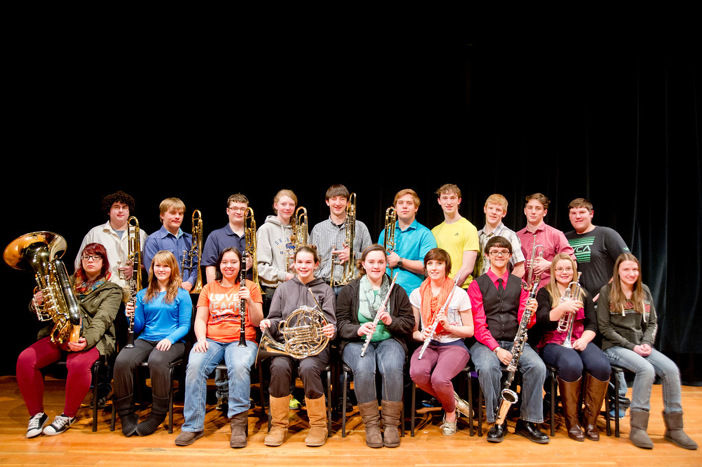 The Sheridan High School 2014 All-State Band, top row, from left, Parker Tiffany, Owen Bensel, Timothy Goodell, Zoe Sherman, Grady Craft, Spencer Porden, Aaron Campbell, Wyatt Avery, Trace Addlesperger, and Jacob Belus. Bottom row, from left, Makayla Hallam, Asia Robinson, Jessica Thompson, Kaija Nymeyer, Heather Belus, Kathryn Rotellini, Ashton Legerski, Sarah Alley, and Brittney Buckler. Not pictured is Heather Bergey. (Jan. 8, 2014. The Sheridan Press/Justin Sheely)