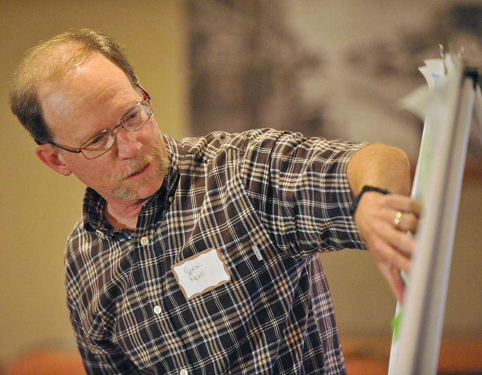 Sheridan County Planner Mark Reid points to a map of the City of Sheridan during an exercise for the Sheridan Land Use Plan Workshop Wednesday evening at the Sheridan Center. The Sheridan Press|Justin Sheely.