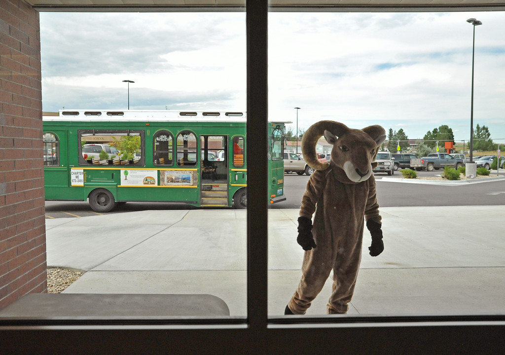 The Big Horn Ram mascot waits outside the Big Horn Elementary School entrance Wednesday afternoon.