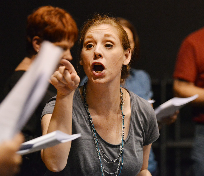 """Jennifer Reed acts out her lines during the auditions for """"42nd Street"""" Wednesday night at the Mars Theater. The musical production will be the feature at this year's Gala fundraiser for the WYO Theater on October 18. The Sheridan Press Justin Sheely."""