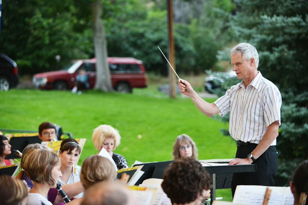 Don Cherni directs the Sheridan Concert Band during the Concert in the Park Tuesday evening at Kendrick Park. The Sheridan Press|Justin Sheely.