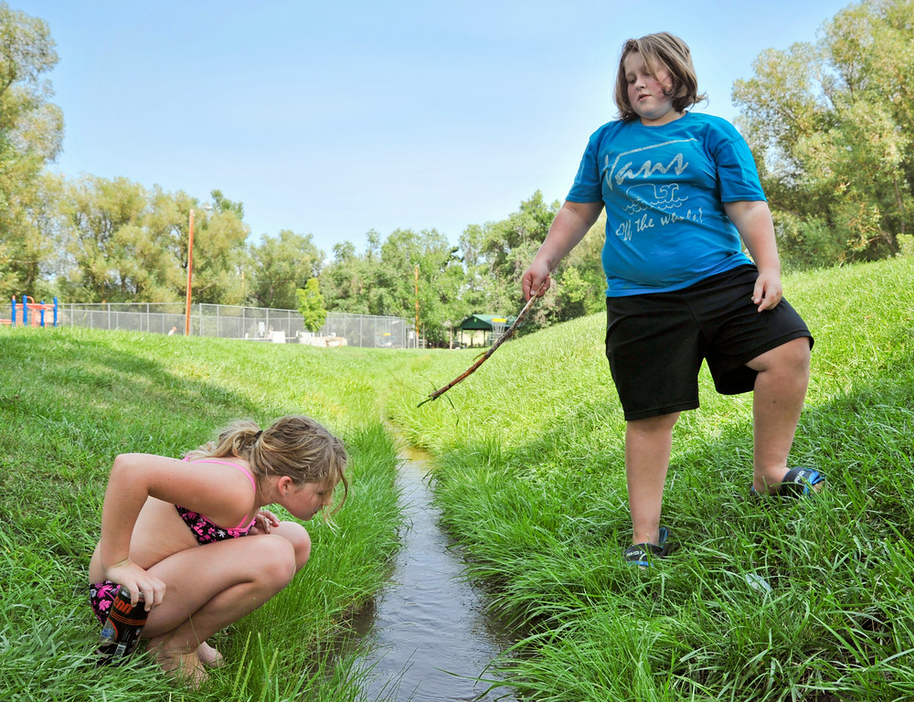 Ten-year-old Madison Hillier, left, and her brother Kaleb Hillier, 12, look for crawdads along an irrigation ditch Friday at Sheltered Acres Park. The park at the end of Emerson Street is a popular place for children to hunt for critters including snakes. The Sheridan Press|Justin Sheely.