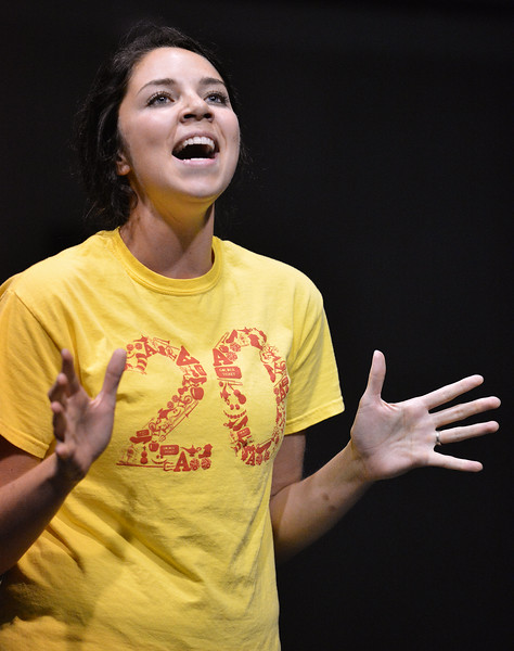 """Danielle Law sings during the auditions for """"42nd Street"""" Wednesday night at the Mars Theater. The musical production will be the feature at this year's Gala fundraiser for the WYO Theater on October 18. The Sheridan Press Justin Sheely."""