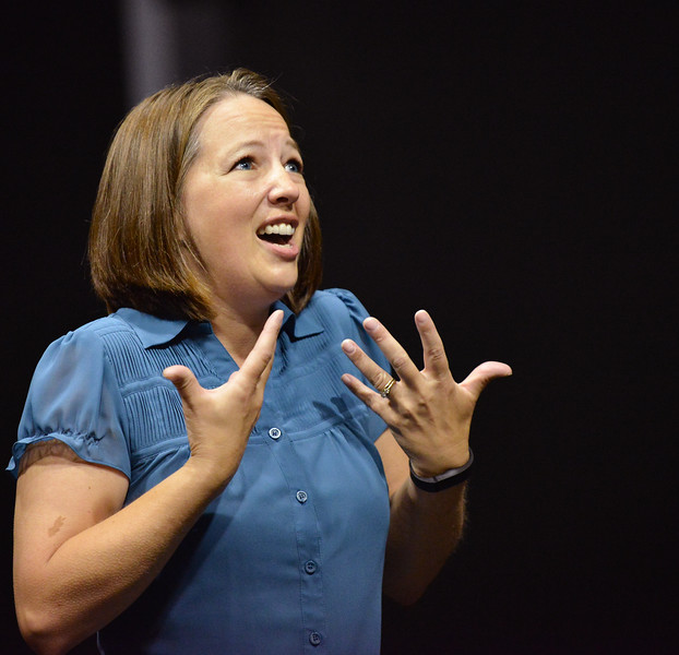 """Becki Arneson sings during the auditions for """"42nd Street"""" Wednesday night at the Mars Theater. The musical production will be the feature at this year's Gala fundraiser for the WYO Theater on October 18. The Sheridan Press Justin Sheely."""