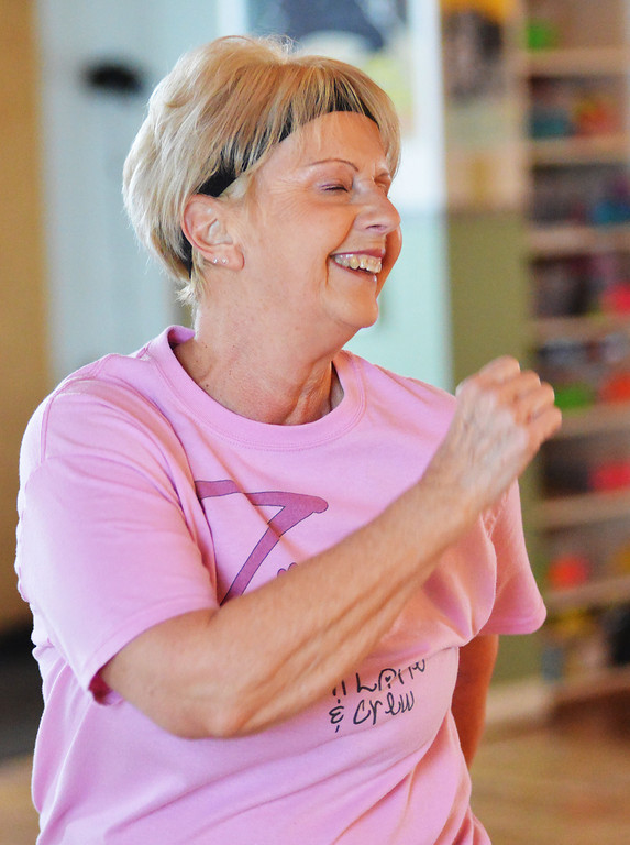 Diane Hobson dances to the music during Zumba Gold Thursday at the Family Life Church.
