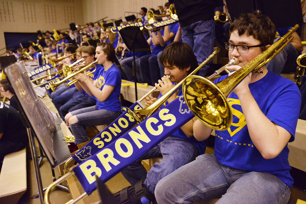 Sheridan junior Timothy Goodell plays the Trombone with the pep band during the Lady Broncs' win over Cheyenne South Friday evening at Sheridan High School.