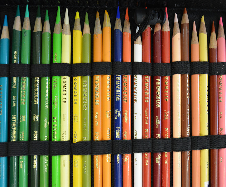 An artist's selection of colored pencils sit on a table during the workshop.