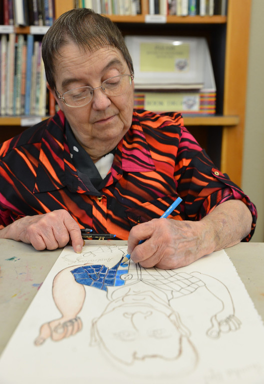 Retired Tongue River Elementary School teacher Mauring Badgett works on her piece during 'Beyond Sketching: Renderings in Colored Pencil with Dean States' Wednesday afternoon at the Sheridan Community Art Center in the Historic Train Depot on Fifth Street. Badgett was drawing a characterization of an old friend.