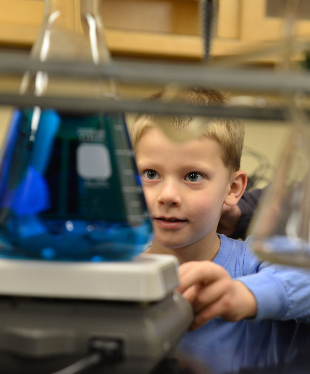 Ian Smith, 6, looks at a container of colored water spin around on a stir plate  during Science Saturday at the Sheridan College Science Center.