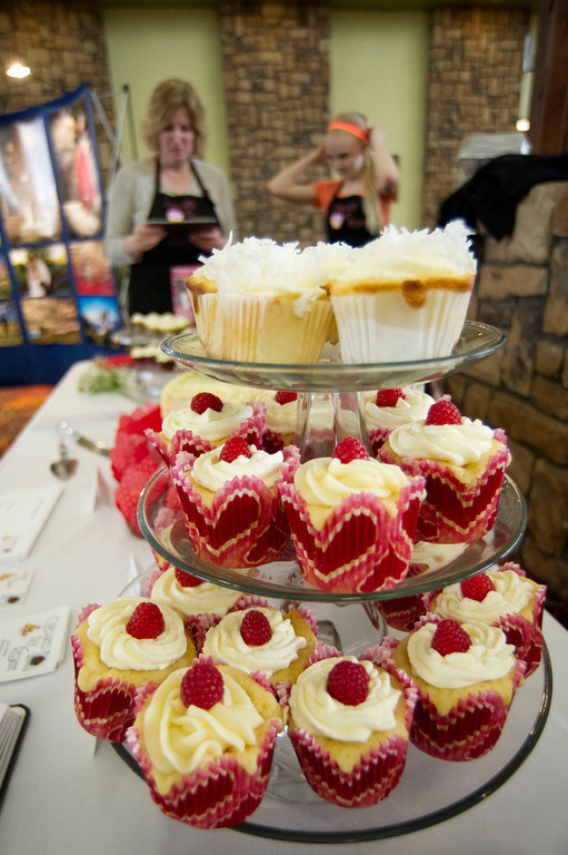 An enticing display of sample from Cupcakes by Design is seen during the Wyoming Weddings free bridal expo Saturday at the Holiday Inn atrium.