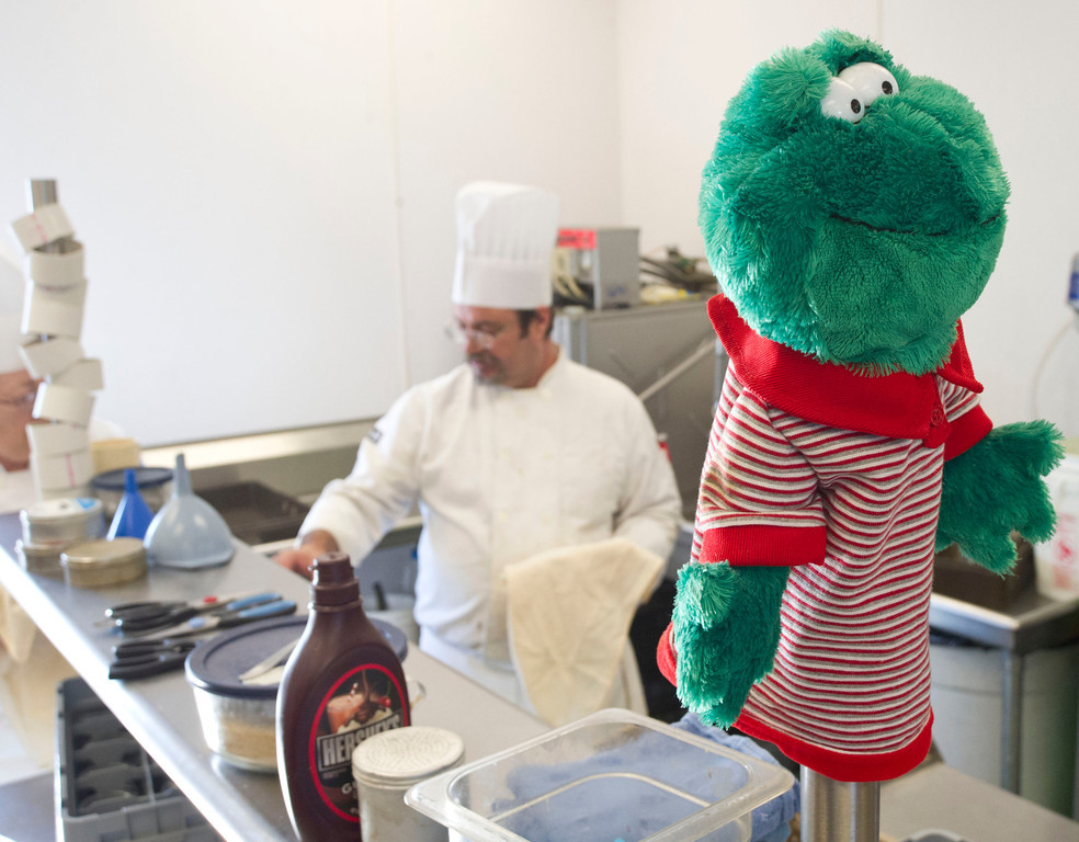 The 'Kitchen Frog' oversees the activity in the kitchen at the Wyoming Culinary Institute on South Sheridan Avenue.