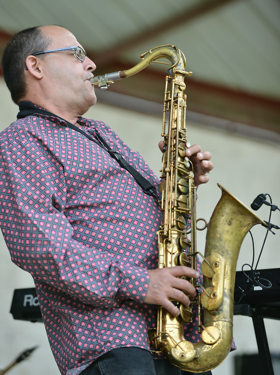 Randy Bauer plays a solo on the Saxophone during the Smokehouse performance for Concert at the Park Tuesday evening at Kendrick Park. The group is based out of Blackduck, Minnesota.