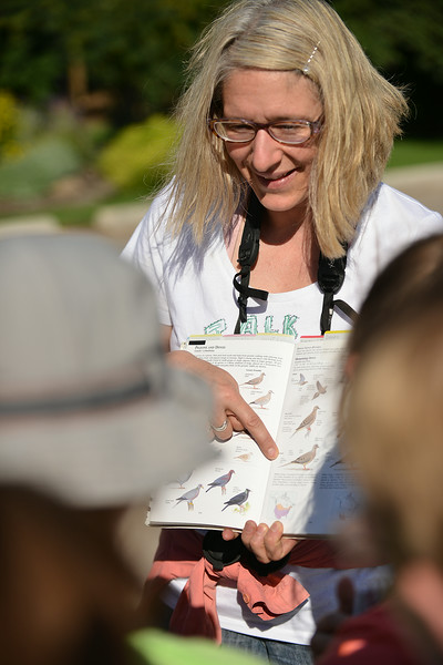 Julie Rieder, an Ecologist, points to a birding reference book to guide the children on how to identify a nearby bird during the Science Kids birding trip to the Padlock Ranch Thursday in Dayton. The students exercised birding skills and installed bird boxes on the ranch before hitting the Dayton Pool to beat the heat. The Sheridan Press|Justin Sheely.