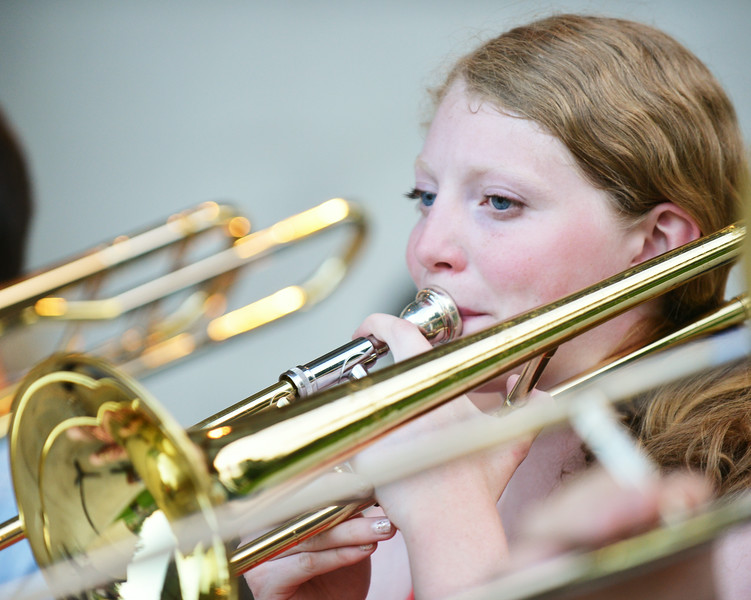 SHS graduate Zoe Sherman plays the Trombone during the Concert in the Park performance by the Sheridan Concert Band Tuesday evening at Kendrick Park. Sherman will be going to the University of Wyoming in Laramie to study Air, Land, and Water Management. The Sheridan Press|Justin Sheely.