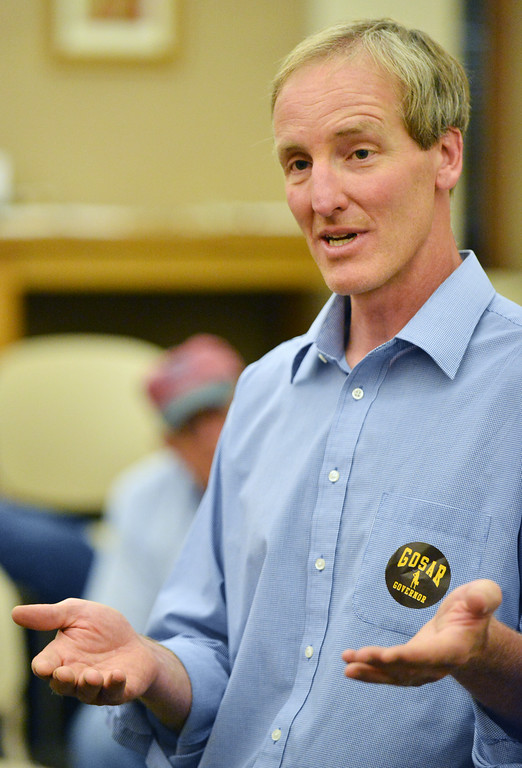 Democratic gubernatorial candidate Pete Gosar speaks in the Inner Circle Room at the Sheridan County Fulmer Public Library on Tuesday. Gosar is the only candidate running for Wyoming Governor as a democrat. The Sheridan Press|Justin Sheely.