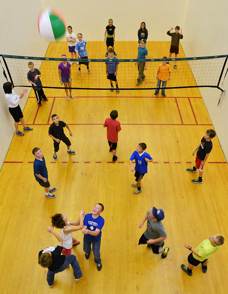 Big Horn Elementary fifth graders play hot potato in a racquetball court during the Big Horn Elementary Fun Day Wednesday at the YMCA. Today is the last day of school for Sheridan County School District 1.